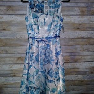 Danny and Nicole blue and cream dress. Size 10. Nw